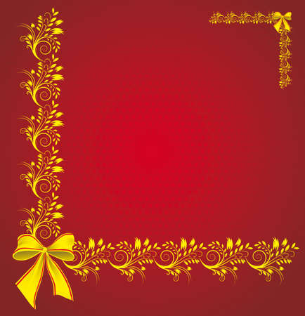 Celebratory background with a gold ornament. illustration Vector