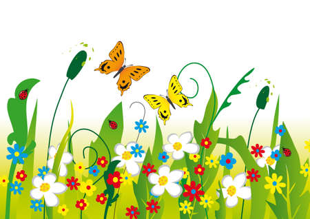 fun grass: Two butterflies on a blooming meadow. illustration