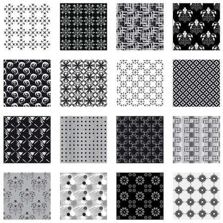 Collection of seamless backgrounds black and white. Vector illustration Vector