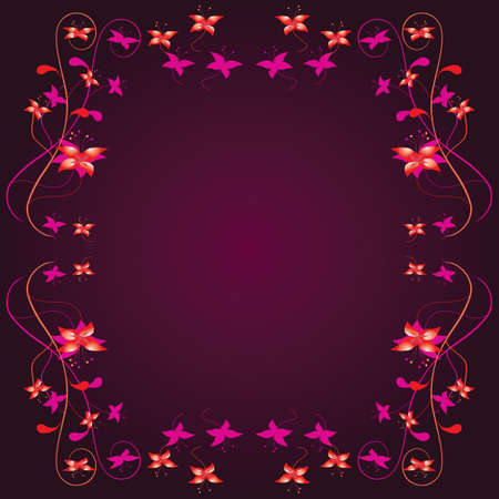 Frame with a floral border. Vector illustration Vector
