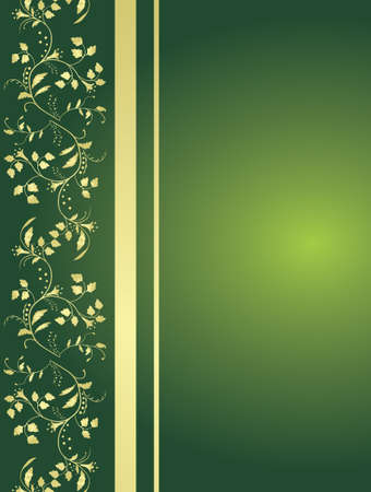 Green background with floral ornaments.  Stock Vector - 6550090