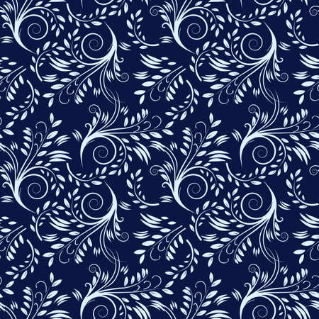 Blue seamless background with leaves.  illustration Vector
