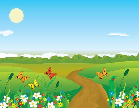 Butterflies over the summer flowering meadow. illustration Stock Vector - 6634147