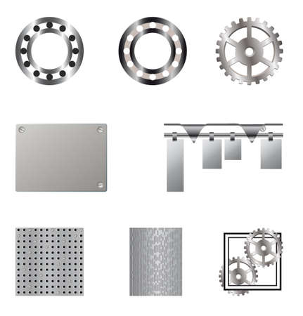 Collection of metal elements for design. Vector