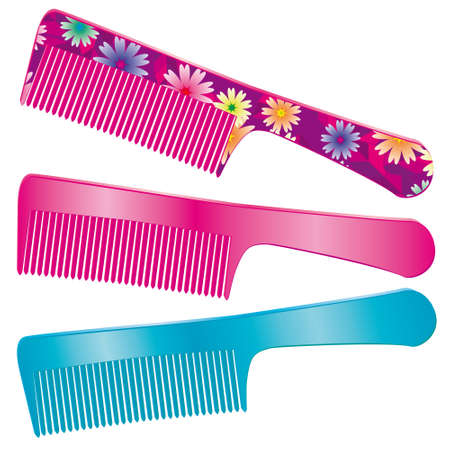 combs: A set of three combs for hair. Illustration