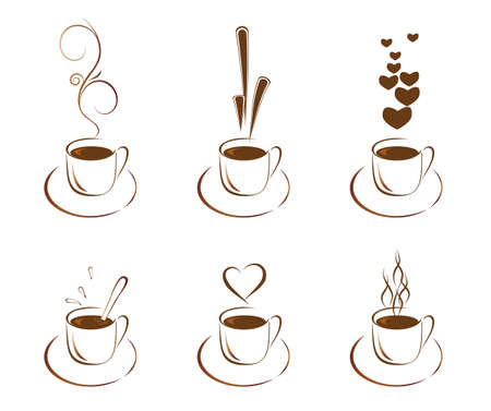 A set of cups with hot coffee.  Stock Vector - 6702912