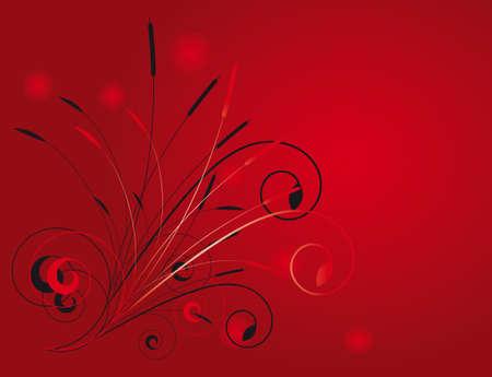 Vegetative background of red and black. illustration Vector