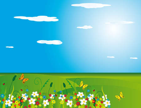 Butterfly on a green meadow. illustration Stock Vector - 6741139