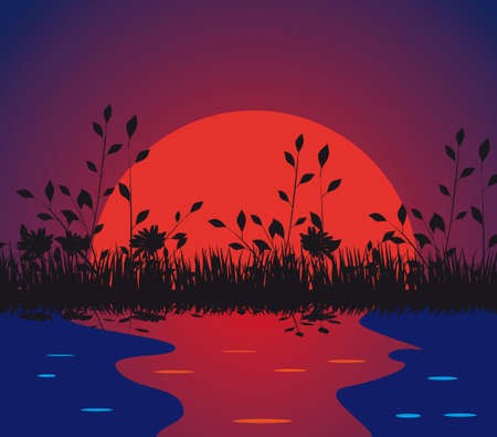 Nature against the setting sun. illustration Vector