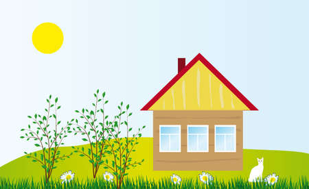 A cozy cottage in the field. illustration Stock Vector - 6783600