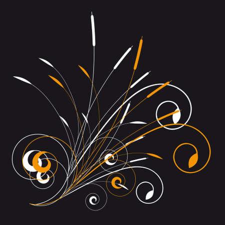 crocket: Floral ornament on black background. illustration Illustration