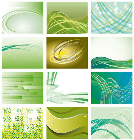 Verzameling van groene geometrische achtergronden. illustratie  Vector Illustratie