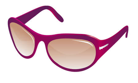 protecting spectacles: Trendy red sunglasses for women. illustration