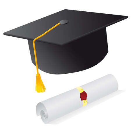Cap and diploma for the student. illustration Vector