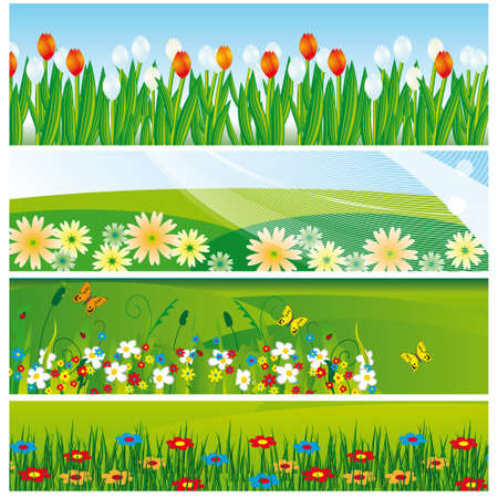 The collection of banners with flowers. Stock Vector - 7270061