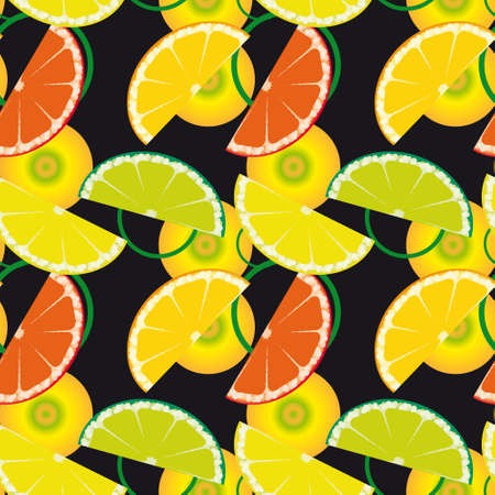 Seamless background with citrus fruits  Vector