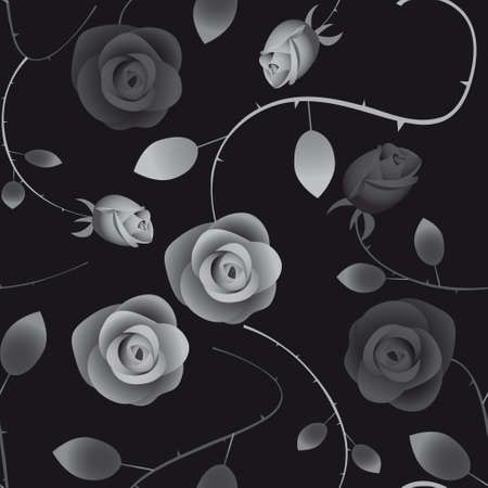 Seamless black background with roses. Vector