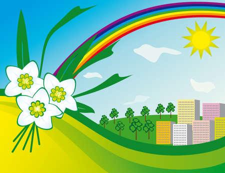 The sun and a rainbow over the city  Vector