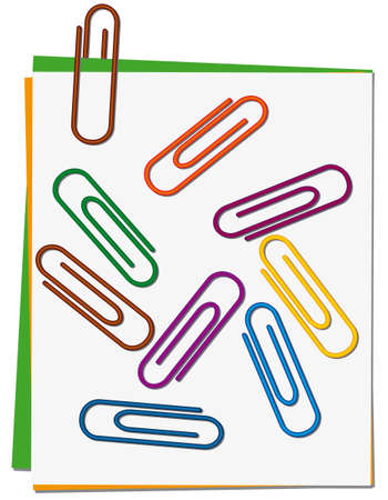 drawing pin: Set of colored paper clips Illustration