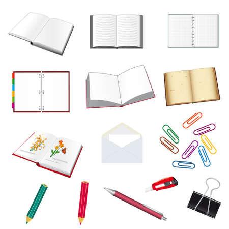 notebook icon: Raccolta di articoli di cancelleria per l'ufficio. Illustrazione vettoriale
