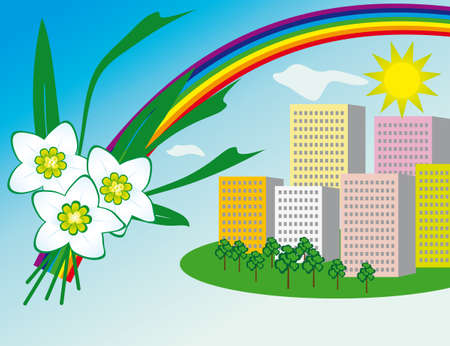 naturism: The sun and a rainbow over the city. Vector illustration