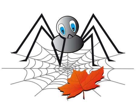 A lonely spider on the web. Vector illustration Vector