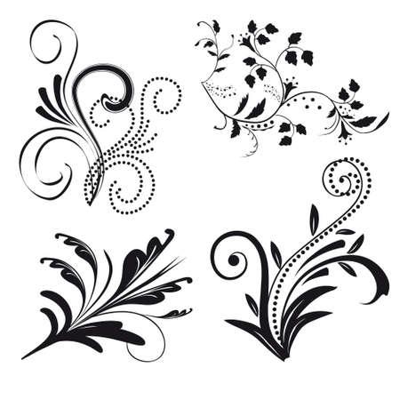 Verzameling van floral ontwerpelementen. illustratie