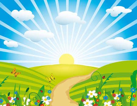The sun over a flourishing meadow. illustration Illustration