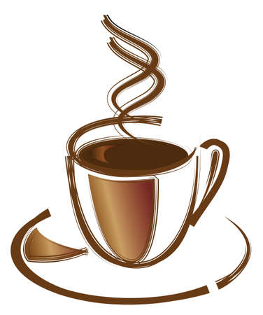 Black coffee in white cup. Vector illustration Vector