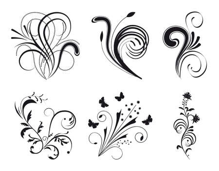 Set of floral design elements. Vector illustration Stock Vector - 8147530