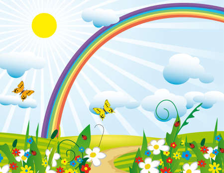 rainbow clouds: Rainbow over the flowering meadows. Vector illustration Illustration