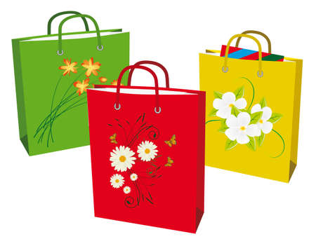 A collection of colorful shopping bags. Vector illustration Vector