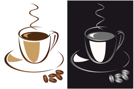 Set of cups of black coffee. Vector illustration Vector