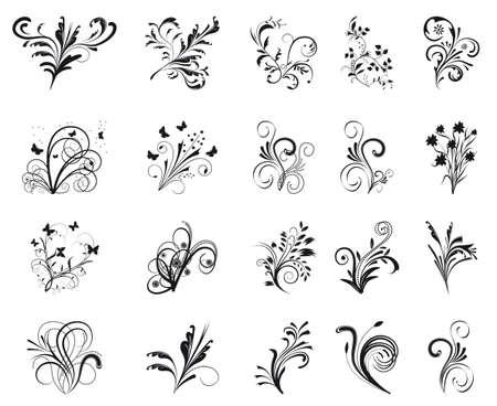 Set of floral design elements. Vector illustration Illustration