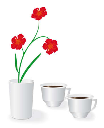 Flowers and two cups of black coffee. Vector illustration Vector