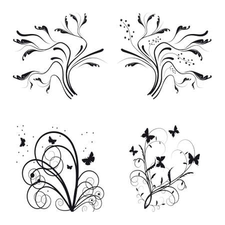 Set of floral design elements. Vector illustration Vector