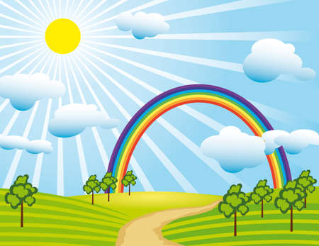 Field road and a rainbow. Vector illustration Stock Vector - 8223390