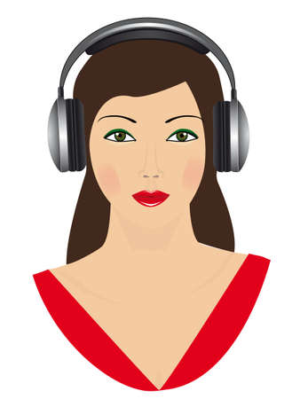 person shined: The girl in black headphones. Vector illustration