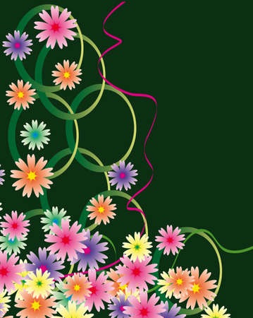 Abstract background with flowers and ribbons. Vector illustration Stock Vector - 8223392