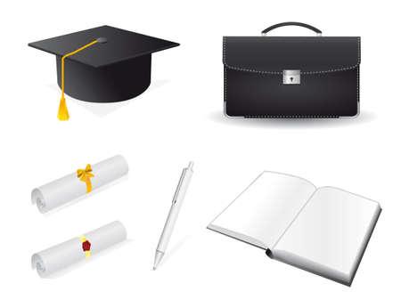 La colección de accesorios para el graduado.