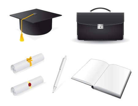 The collection of accessories for the graduate.  Vector