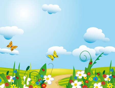 The sun over a flourishing meadow.  Stock Vector - 8295205