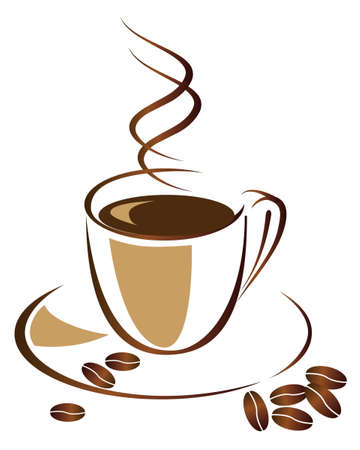A cup of black coffee.  Illustration