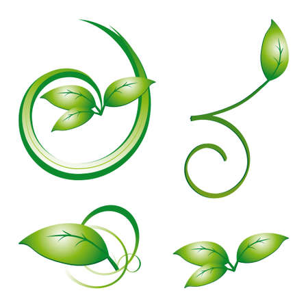 naturism: Collection of green leaves to the design.