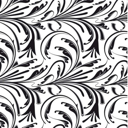 Seamless floral background of black and white.  Vector