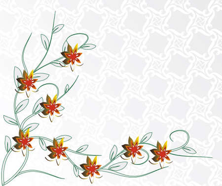 naturism: Light background with red flowers. Vector illustration