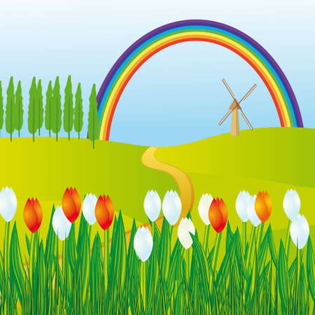 naturism: Rainbow over the flowering meadows. illustration Illustration