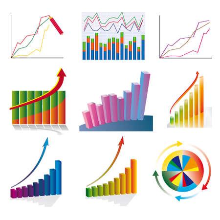 A set of color business charts. illustration
