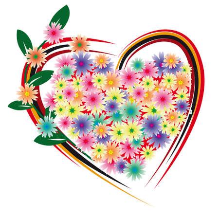 beloved: Flower heart for the beloved. illustration
