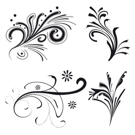 Set of floral design elements. illustration Stock Vector - 8349938